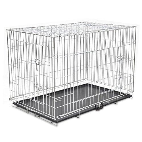 Anself Klappbar 2 Türen Transportkäfig Drahtkäfig Hundekäfig Größe Optional