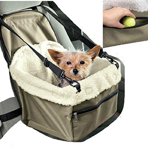 Auto-Transporttasche für den Sitz, Transportbox für Hunde, Katzen, Haustiere, mit Sicherheitsgurt und weicher Decke im Inneren