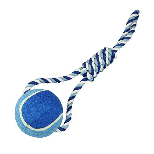 COM-FOUR® Spiel-Ball mit Kordel und Schlaufe für Hunde (42x10x10cm 270gr)