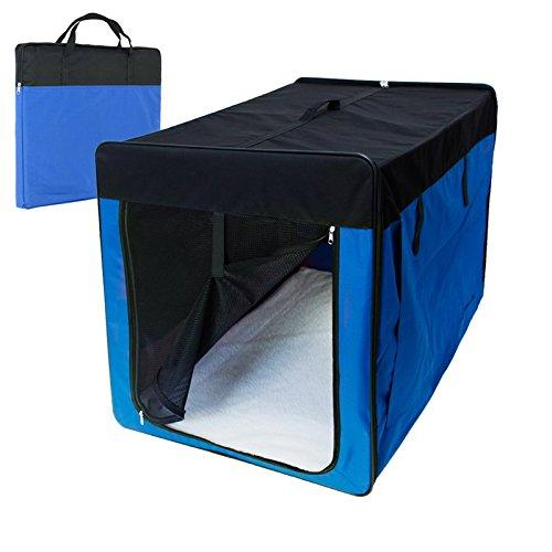 ECD Germany Klappbare Transportbox für Hund und Katze XXL: 1060 x 710 x 810 mm inkl. Polster aus Lammfellimitat Blau Hundebox Hundetransportbox Autobox Transporthütte