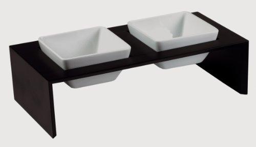 Edle + hochwertige Futterstation Meshidai von REPLUS! Schwarz lackiert! Dies ist ein Doppelnapf Gr.XS 2 x 0,2 ltr.
