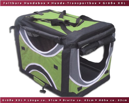 Faltbare Hunde-Transportbox / Auto-Transportbox XXL Grün-Schwarz