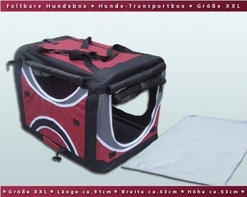 Faltbare Hunde-Transportbox / Auto-Transportbox XXL Weinrot-Schwarz