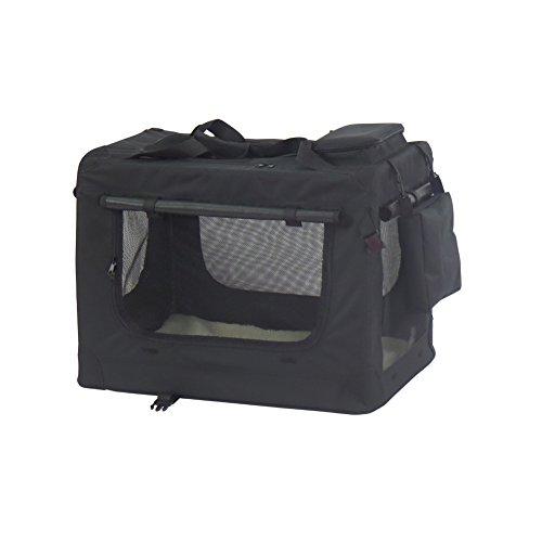 Faltbare Oxford Gewebe Hundetransportbox Transportbox Hundebox Katzenbox mit seitlichem Einstieg -M,60 x 42 x 42 cm,Schwarz