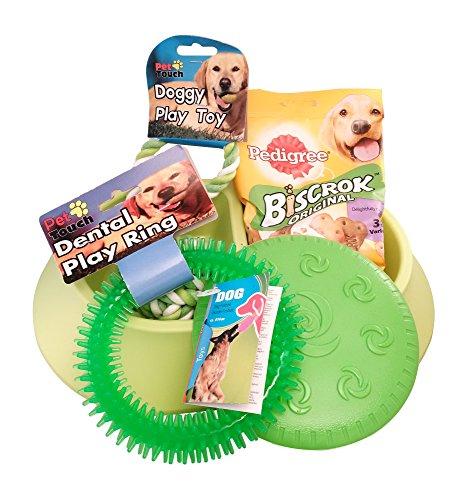Hund Starter Set BUNDLE inkl. Pedigree Biscrok Original Kekse, Dental Play Ring, Hunde Frisbee, Füttern Fressnapf, geflochtenen Ball Spielzeug