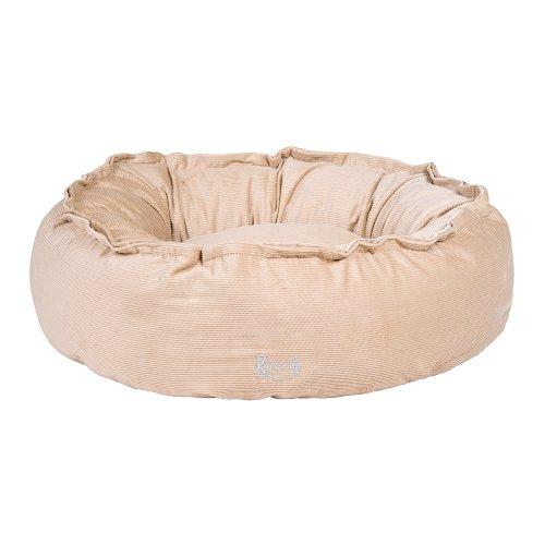 Hundebett hell-beige/pearl glam Cord-Stoff/100% Baumwolle nachfüllbar | Größe S: 70 x 60 cm | abnehmbarer Bezug, Hundebett waschbar bei 40°C, exklusive Füllung, Hundekorb Hunde-Liegeplatz Hundesofa, kuschelig