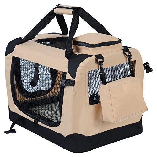 Hundebox Hundetransportbox Auto Transportbox Reisebox Katzenbox mit Hundedecke faltbar 49,5x34,5x35cm, Beige,HT2025be