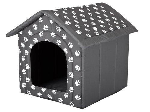 Hundehöhle mit Pfoten Katzenhöhle Hundehütte Hundebett Katzenbett Hundehaus S-XL (XL 60x55cm)