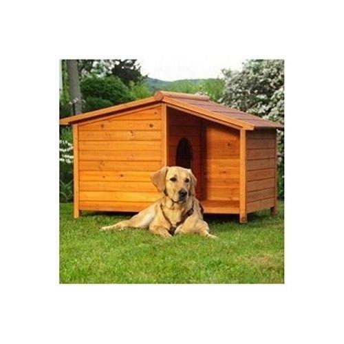 Hundehütte, Hundehaus aus Holz, groß, robust und stabil, für den Außenbereich, mit Hütte und Vorbau