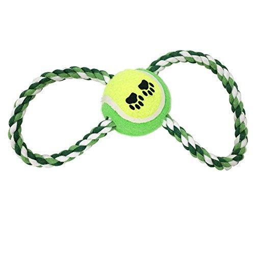 Hundespielzeug Ball am SeilHundeball Apportierspielzeug Wurfspielzeug Zahnpflege Grün HTS2055gn