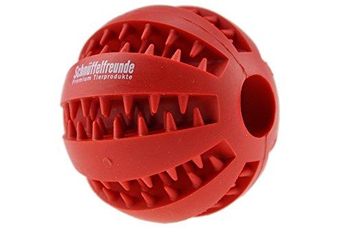 Hundespielzeug Ball aus Naturkautschuk mit Dental-Zahnpflege-Funktion | mit Noppen und Loch für Leckerli, ø 7cm, für große und kleine Hunde