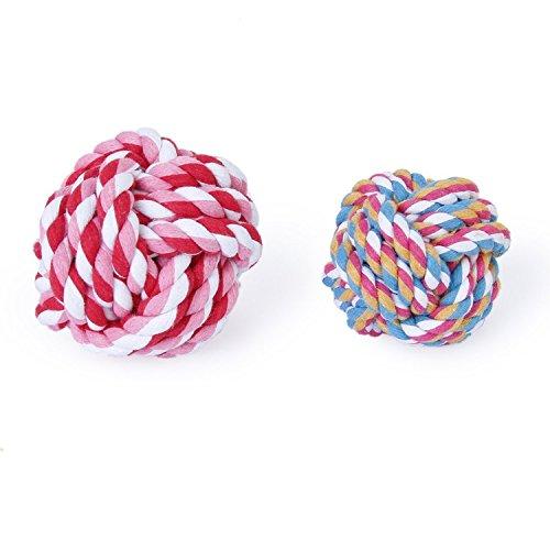 Hundespielzeug/Kauspielzeug für Hunde, Knotenball aus Seil, Baumwolle, geflochten, zur Zahnreinigung, 9 cm, beliebige Farbe