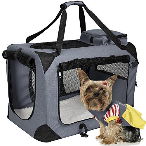 Hundetransportbox faltbar Hundebox Transportbox Autobox Transporthütte Polster & Transporttasche (Grau, XXL)