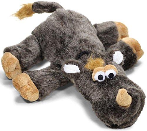 Knuffelwuff 13015 Hundespielzeug Nashorn aus Plüsch mit Quietscher, 44 cm
