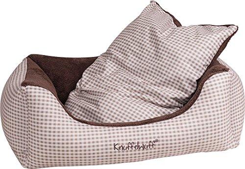 Knuffelwuff 13095 Kuschel Hundebett Lina Karo - Größe M-L, 85 x 63 cm, braun