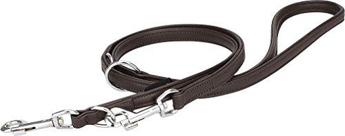 Knuffelwuff Leder Hundeleine Führleine mehrfach verstellbar Länge 200 cm, Breite 18 mm Braun