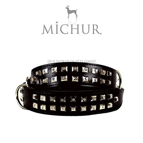 MICHUR BLACKMAN 2.0, Hundehalsband, Lederhalsband, Halsband,SCHWARZ, LEDER, STRASSSTEINE IN NIETEN, in verschiedenen Größen erhältlich