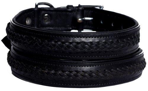 MICHUR CARLOS SCHWARZ, Hundehalsband, Lederhalsband, Halsband, SCHWARZ GEFLOCHTENER ZOPF, LEDER, in verschiedenen Größen erhältlich