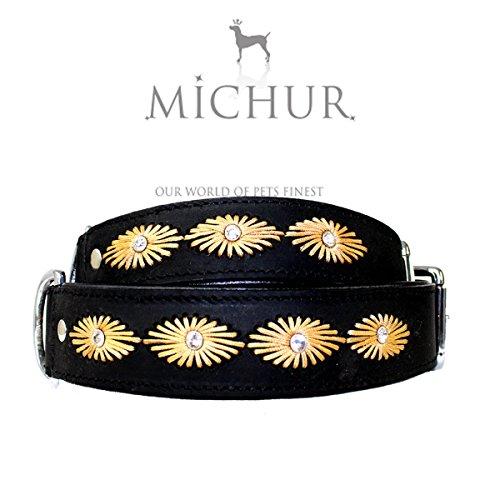 MICHUR CHEROKEE, Hundehalsband, Lederhalsband, Halsband, SCHWARZ, LEDER, Stickmuster und Strassstein, in verschiedenen Größen erhältlich