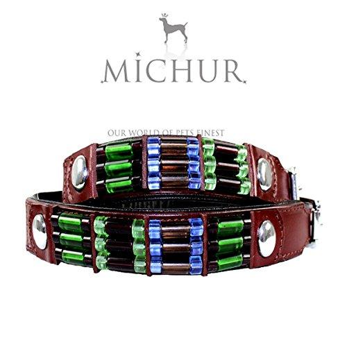 MICHUR Cherry, Hundehalsband, Lederhalsband, Halsband, Braun, LEDER, farblich abgesetzte Applikationen, in verschiedenen Größen erhältlich
