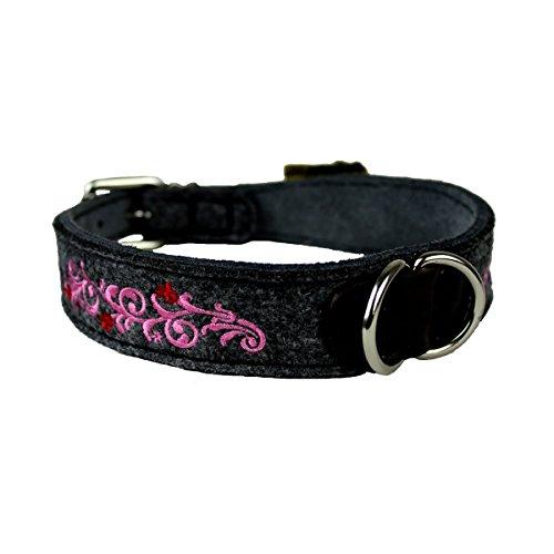 MICHUR HEIDI ROSA, Hundehalsband Filz, Art Leder, Hund Halsband Grau, Rosa mit Stickerei, in verschiedenen Größen erhältlich