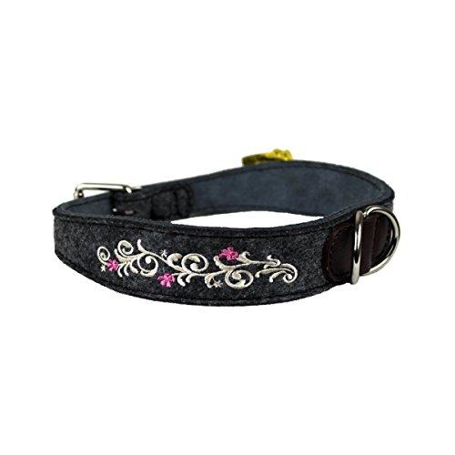 MICHUR HEIDI WEISS, Hundehalsband Filz, Art Leder, Hund Halsband Grau, Weiss mit Stickerei, in verschiedenen Größen erhältlich