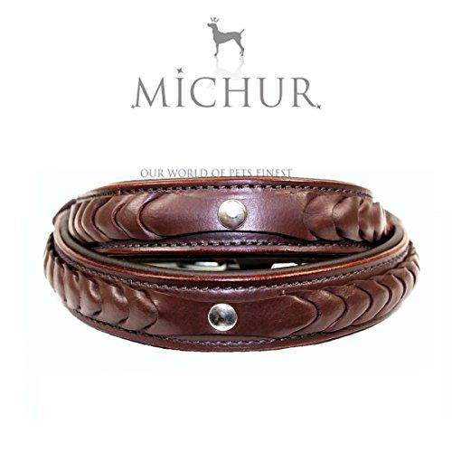 MICHUR MAX, Hundehalsband, Lederhalsband, Halsband, BRAUN GEFLOCHTENER ZOPF, LEDER, in verschiedenen Größen erhältlich