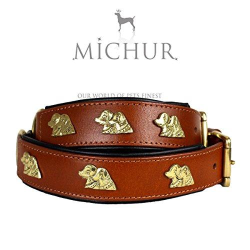 MICHUR MILY Hundehalsband, Lederhalsband, Halsband, BRAUN mit goldfarbenen Applikationen, LEDER, in verschiedenen Größen erhältlich