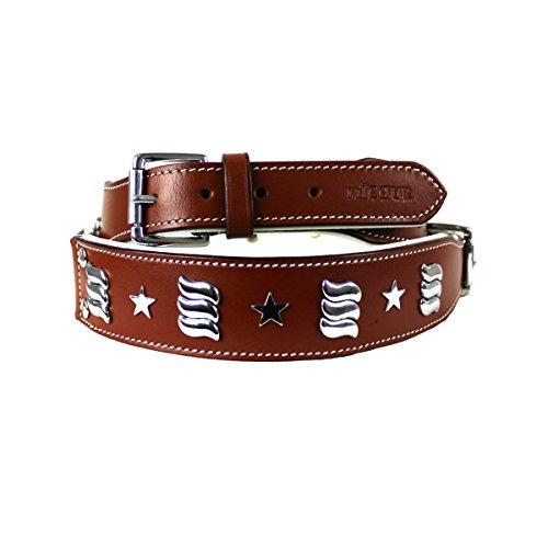 MICHUR MUNA, Hundehalsband, Lederhalsband, Halsband, LEDER, BRAUN, NIETEN , in verschiedenen Größen erhältlich