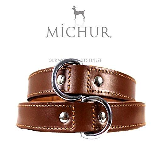 MICHUR Miami Braun, Hundehalsband, Lederhalsband, Halsband, Braun, LEDER, Innenseite Cognac, in verschiedenen Größen erhältlich