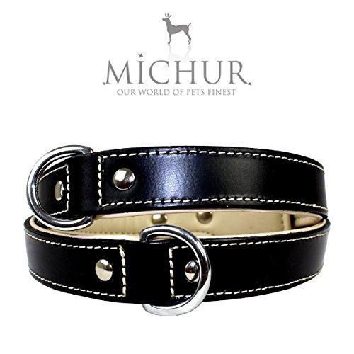MICHUR Miami Schwarz, Hundehalsband, Lederhalsband, Halsband, Schwarz, LEDER, Innenseite Beige, in verschiedenen Größen erhältlich