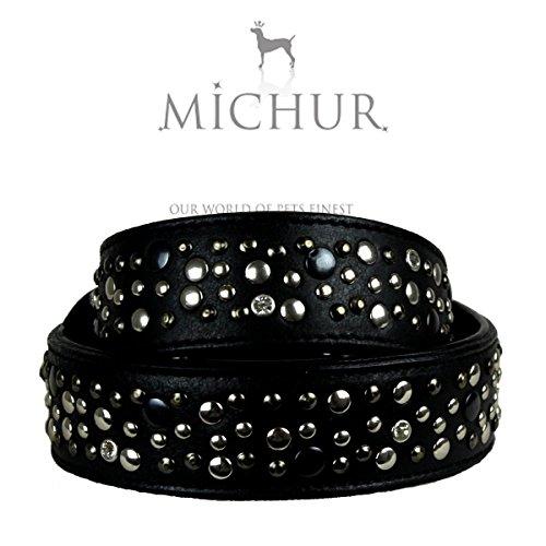 MICHUR Rex, Hundehalsband, Lederhalsband, Halsband, LEDER, SCHWARZ, mit silberfarbenen Nieten und Strasssteinen , in verschiedenen Größen erhältlich