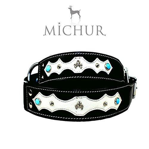 MICHUR SANTO, Hundehalsband, Lederhalsband, Halsband, SCHWARZ, LEDER, BLAUE STEINE MIT RUNDNIETEN, in verschiedenen Größen erhältlich