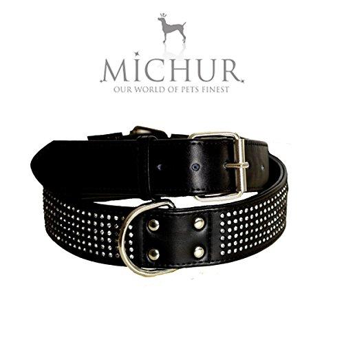 MICHUR SCARLETT SCHWARZ, Hundehalsband, Halsband Strass, Halsband LEDER MIT STRASS, SCHWARZ, in verschiedenen Größen erhältlich