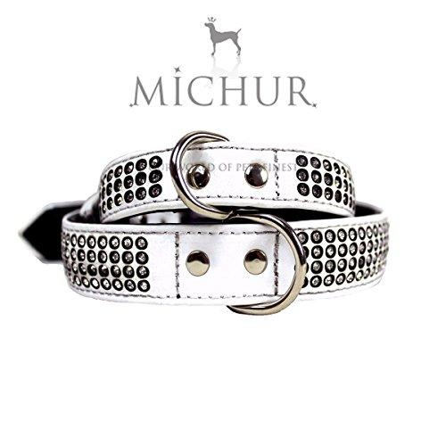 MICHUR SCARLETT WEIß, Hundehalsband, Halsband Strass, Halsband LEDER MIT STRASS, WEIß, in verschiedenen Größen erhältlich