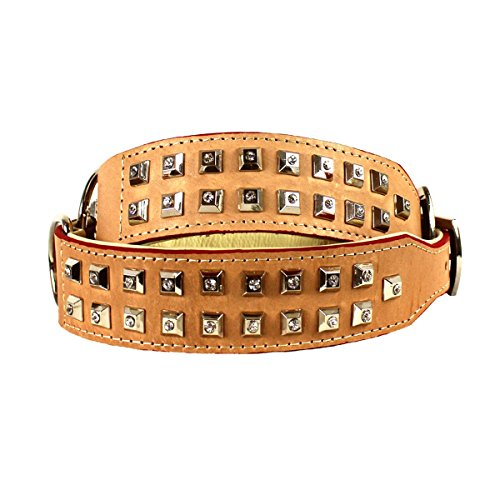 MICHUR ZORA 2.0, Hundehalsband, Lederhalsband, Halsband, BEIGE/ ROT umrandet, LEDER, STRASSSTEINE IN NIETEN, in verschiedenen Größen erhältlich