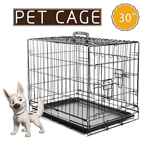 Masione 30 Zoll 2 Türen Haustier faltende Katze Hundekäfig Transportkäfig Transportbox Drahtkäfig faltbar Käfig Kennel w / ABS-Behälter