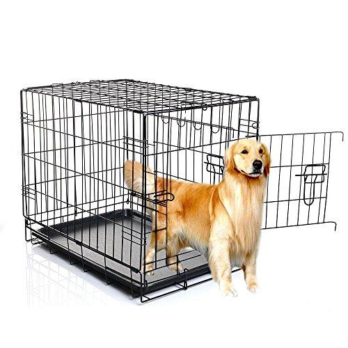 Masione 48 Zoll 2 Türen Haustier faltende Hund Katze Crate Cage Hundekäfig Transportkäfig Transportbox Drahtkäfig faltbar Käfig Kennel w / ABS-Behälter