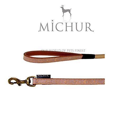 Michur Creek Leine, Hundeleine, Flachleine, Lederleine, Beige, 130cm