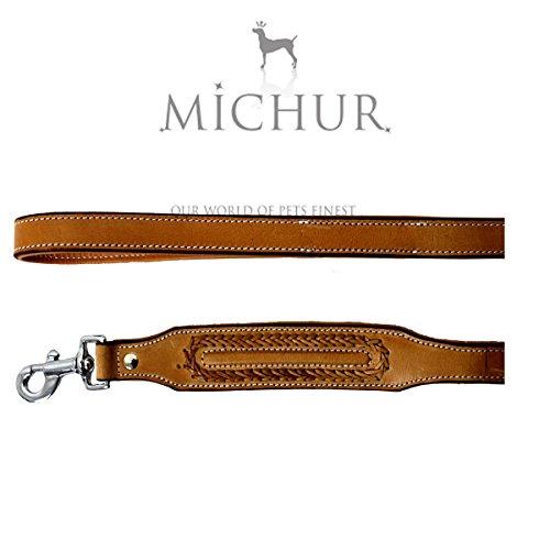 Michur Maria beige Leine, Hundeleine, Flachleine, Lederleinebeige, beige 120cm