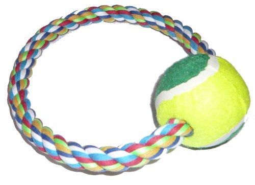PJ Pet Products Hundespielzeug, Tennisball am Seil, 21 cm, 3er-Pack