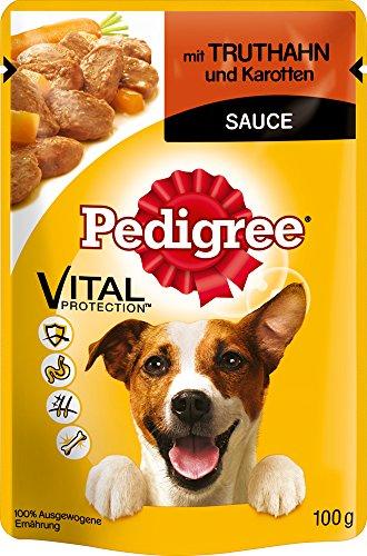 Pedigree Hundefutter Truthahn und Karotten in Sauce, 24 Beutel (24 x 100 g)