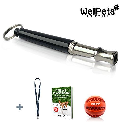 Profi Hunde-Pfeife | +3 x BONUS: Zahnpflege-Ball, Umhänge-Band & Ebook Hundetraining | Ultraschall Hundepfeifen Lautlos Hochfrequenz | Bellen Stoppen | 100% Geld-zurück-Garantie