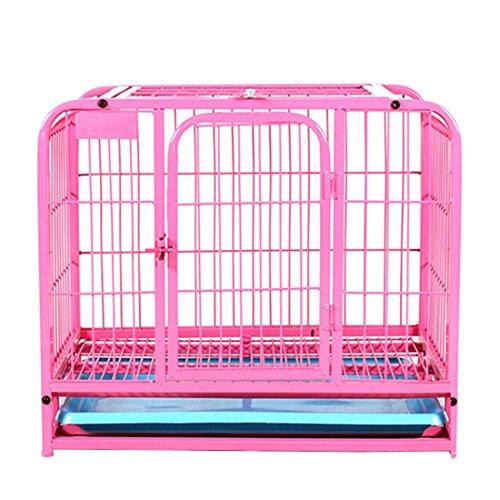 Qianle 60*45*55cm Hundekäfig Transport / Drahtkäfig Hunde / Reisebox Transportkäfig für Haustier Pink