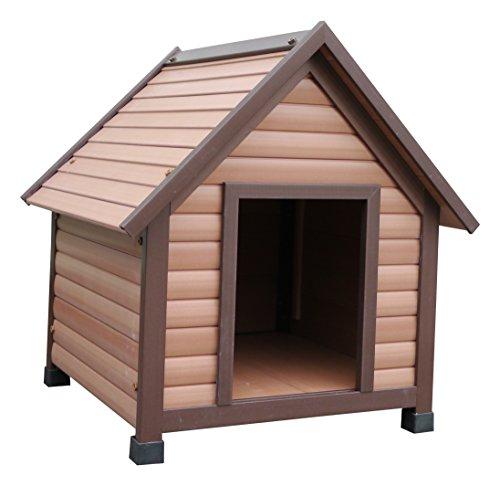Rosewood 02061 Wetterfeste Spitzdach-Hundehütte für kleine Hunde, aus Holz und Kunststoffwerkstoff, mit verstellbaren Füßen
