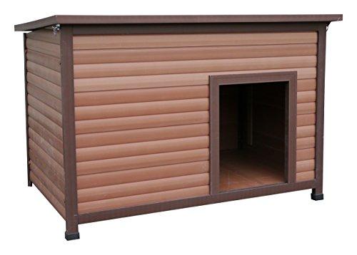 Rosewood 02067 Wetterfeste Flachdach-Hundehütte für große Hunde, aus Holz und Kunststoffwerkstoff, mit aufklappbarem Dach