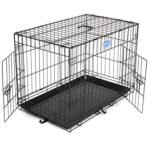 Songmics L Hundekäfig faltbar Käfig mit 2 Türen 1 x herausnehmbare Kunststoffwanne schwarz PPD30H