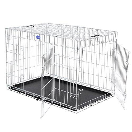 Songmics XXL Hundekäfig faltbar Käfig mit 2 Türen 1 x herausnehmbare Kunststoffwanne silbern PPD42W