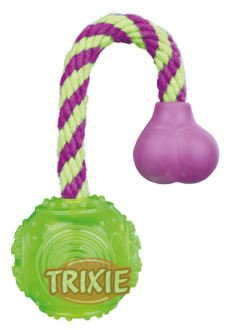 TRIXIE Ball am Seil, thermoplastisches Gummi (TPR) Ball am Seil, thermoplastisches Gummi (TPR), ø 5,5 cm/23 cm