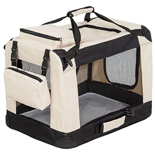 "TecTake Faltbare Hundetransportbox Transportbox beige 60x42x43cm ""M"""